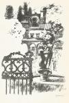 Vytušilová Valerie, litografie, Kašna v tajemné zahradě
