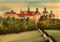 Neznámý autor, akvarel, Krajina se zámkem